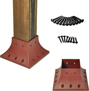 Myard PNP114040-R 4x4 (Actual 3.5x3.5) Inches Post Base Cover Skirt Flange with Screws for Deck Porch Handrail Railing Support Trim Anchor (Qty 1, Red Clay)