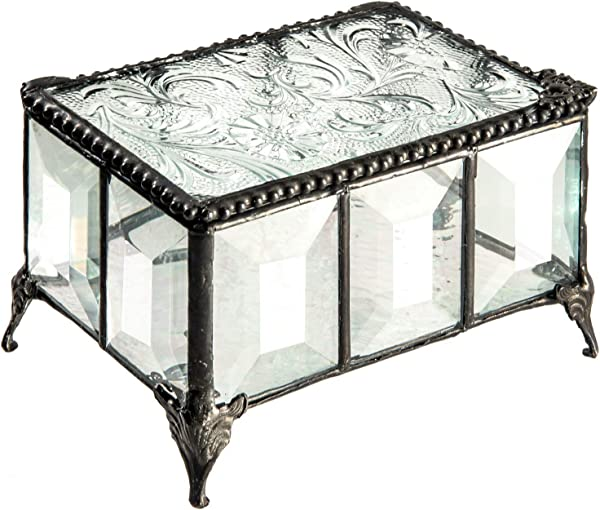 J Devlin Box 762 Vintage Clear Beveled Glass Box Chest Decorative Keepsake Trinket Box Jewelry Display Crystal