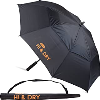 Golf Umbrella Large 48 Inches For All Purposes - Automatic Opening. Fiberglass Frame. Vented Double Canopy. Reflective Velcro Straps - Wind and Rain Resistant - Handy Shoulder Carrying Bag - Black