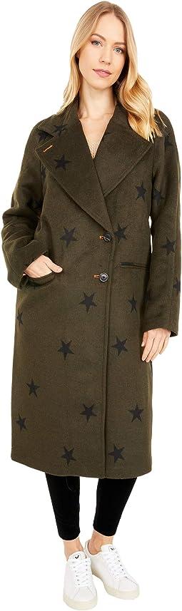 Double Face Star Print Wool Blend Raglan Coat