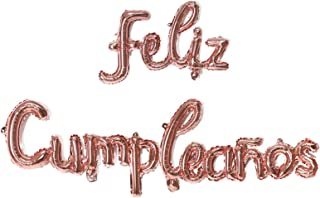 Rose Gold Feliz Cumpleanos Small Letters Conjoined Balloons Happy Birthday Balloons Birthday Banner Decoration Party Decor...
