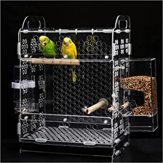 Bird Cage, 14 Inch Acrylic Bird Feeding Nest Transparent Parrot Cage Breeding Cage for Parakeets, Finches and Canaries