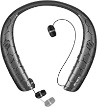 Bluetooth Headphones Speaker 2 in 1, Doltech Neckband Wireless Bluetooth 4.1 Headset Wearable Speaker with Retractable Earbuds, True 3D Stereo Sound Sweatproof Call Vibrate Alert Built-in Mic (Black)