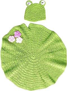 YeahiBaby 生まれたばかりの赤ちゃんの写真撮影の小道具かぎ針編みの衣装の帽子衣装幼児の写真撮影セット(緑)