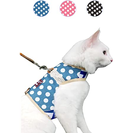 Soft Strap Escape Proof and Adjustable for Walking with Safety Buckle for Medium Large Big Cat Etrustor Cat Harness with Leash Set