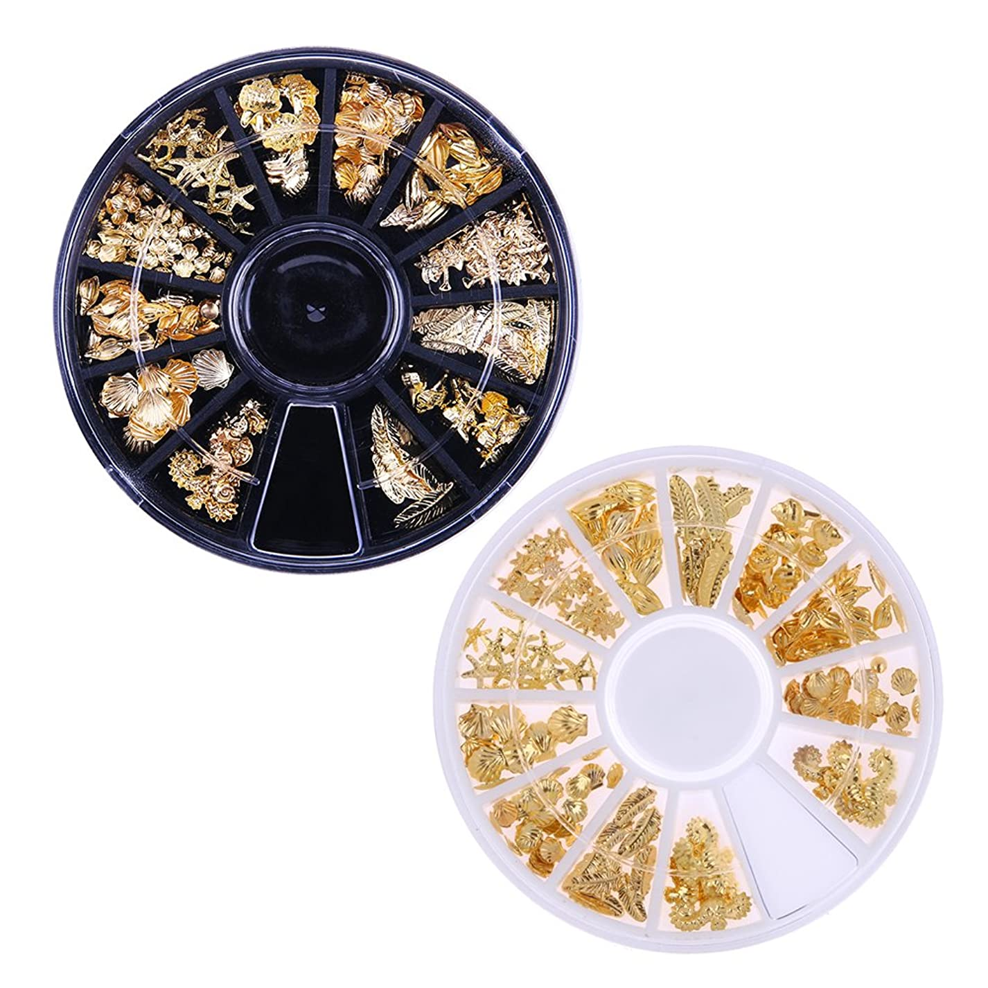 マーカー爪イタリックDemiawaking 3D ネイルパーツ メタル ゴールド 海テーマ(貝殻/海馬/海星など) 12種形 ネイルデコレーション ラウンドケース入リ 2ケース