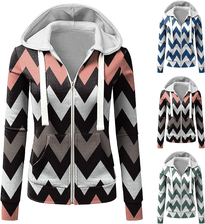 Olivcker Women Hoodie Coat Zip Up Drawstring Sweatshirts V Neck Stripe Loose Soft Long Sleeve Winter Warm Jacket Tunic Tops