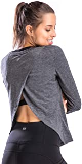Move With You Women's Workout Yoga Long Sleeve Open Back Top Sports Shirts Gym Running Athletic Clothes