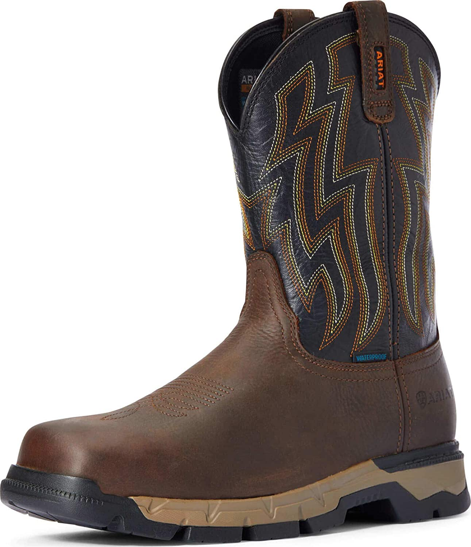 ARIAT Men's Rebar Flex Waterproof Western Soft Toe Bro New arrival Boot specialty shop Work