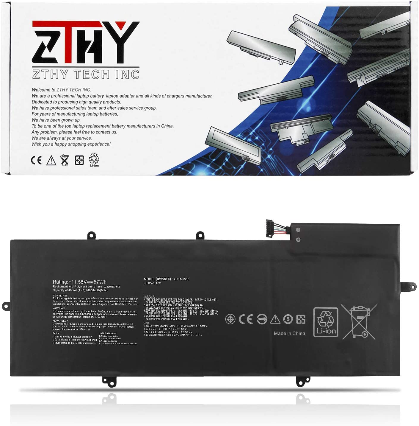 National products Minneapolis Mall ZTHY 11.55V 57Wh 4940mAh C31N1538 with Battery Laptop Compatible