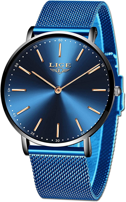LIGE Relojes Hombre Negro Ultrafino Impermeable Acero Inoxidable Reloj Moda Simple Reloj Hombre Negocios Analógico Cuarzo Relojes