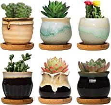 FairyLavie 2.5 Inch Ceramic Succulent Plant Pot, Rustic Style Cute Little Pots for Plants, Planter with Bamboo Tray, Perfe...