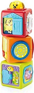 Juego de 3 bloques de apilamiento para bebés, juguetes de aprendizaje con tema animal, habilidades motoras de aprendizaje finas y brutas: diapositivas, giros, rizos, giros, pilas, para bebés de más de 3 meses, certificado ASTM