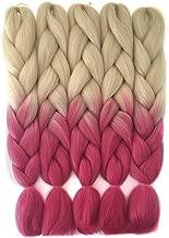 HiDoLa 2 Tone Ombre Braiding Hair Kanekalon Jumbo Hair 5pcs/Lot 24 Inch Synthetic Colored Braiding Hair Extension for Crochet Box Braids Twist Braiding Hair (C51,613 Blonde/Peach Red)