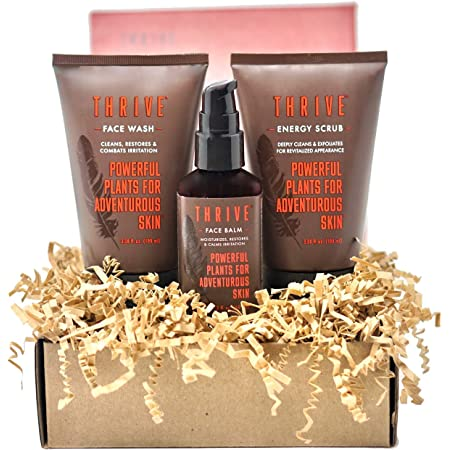 THRIVE Natural Deep Clean Skincare Kit for Men & Women (3 Piece) – Gift Set with Natural Face Scrub, Wash & Moisturizing Face Lotion – Organic & Natural Ingredients – Made in USA, Vegan & Cruelty Free