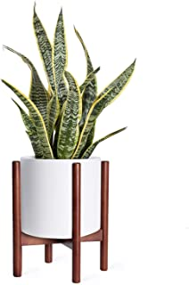 Plant Stand Mid Century Wood Flower Pot Holder Display Potted Rack Rustic, up to 12 inch Planter (Planter Not Included) (Walnut)