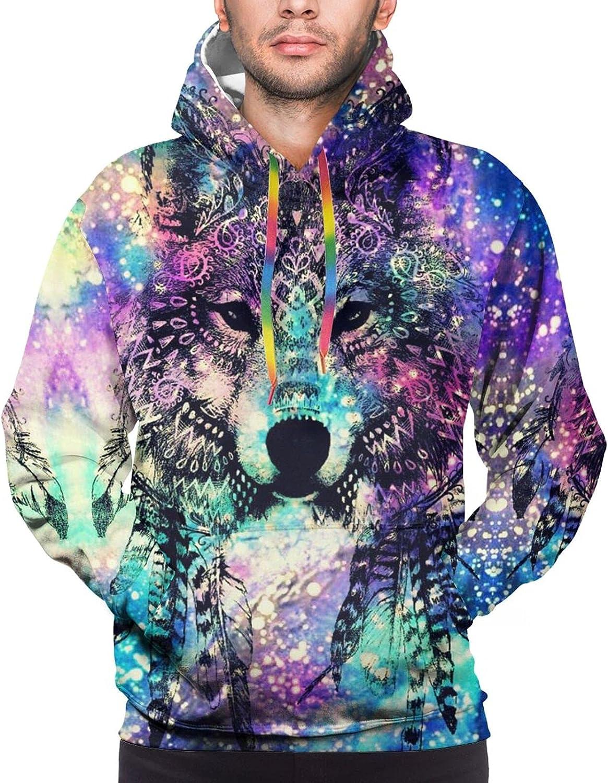 Hoodie For Mens Womens Teens Galaxy Beautiful Wolf Pullover Hooded Sports Sweatshirt