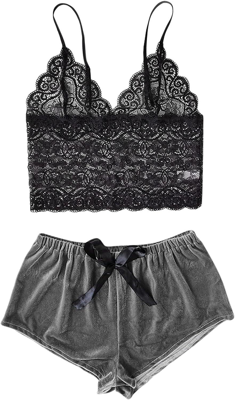 Lovor Women's Lace 2 Piece Trim Bralette Shorts Pajama Set with Camisole Sleep Shorts