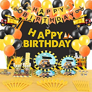 Construction Birthday Party Supplies Decorations Set- Serve 10 Guests -156 Pcs, Birthday Packs Includes Flatwares,Tableclo...