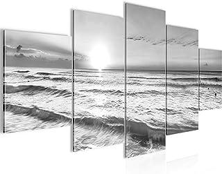 Runa Art - Tableau Le Coucher Du Soleil Plage 200 x 100 cm 5 Parties XXL Decoracion Murale Dessin Noir Blanc 023751c