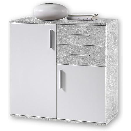 BOBBY Commode en béton, blanc - Buffet moderne avec beaucoup d'espace de rangement pour votre salon - 80 x 82 x 35 cm
