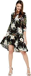 Women's Hawaiian 3/4 Sleeve Mermaid Ruffle Tunic Dress in Wispy Cereus Black