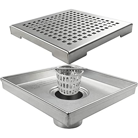 Square Shower Drain with Removable Quadrato Pattern Grate, 6-Inch, Brushed 304 Stainless Steel, with WATERMARK&CUPC Certified …