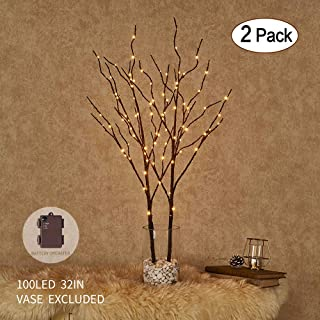Hairui Lighted Artificial Brown Twig Tree Branch with Fairy Lights 32IN 100 LED Battery Operated Lighted Willow Branch for Christmas Home Decoration Indoor Outdoor Use 2 Pack (Vase Excluded)