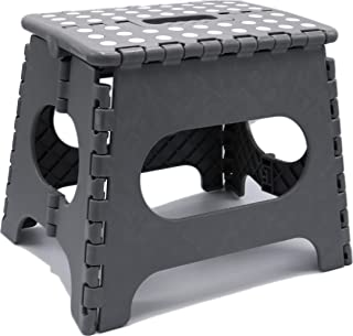 Folding Step Stool - Lightweight 11 Inch Step Stool is Sturdy Enough to Support Adults and Safe Enough for Kids Opens Easy with One Flip. Great for Kitchen, Bathroom, Bedroom, Kids or Adults. (Gray)