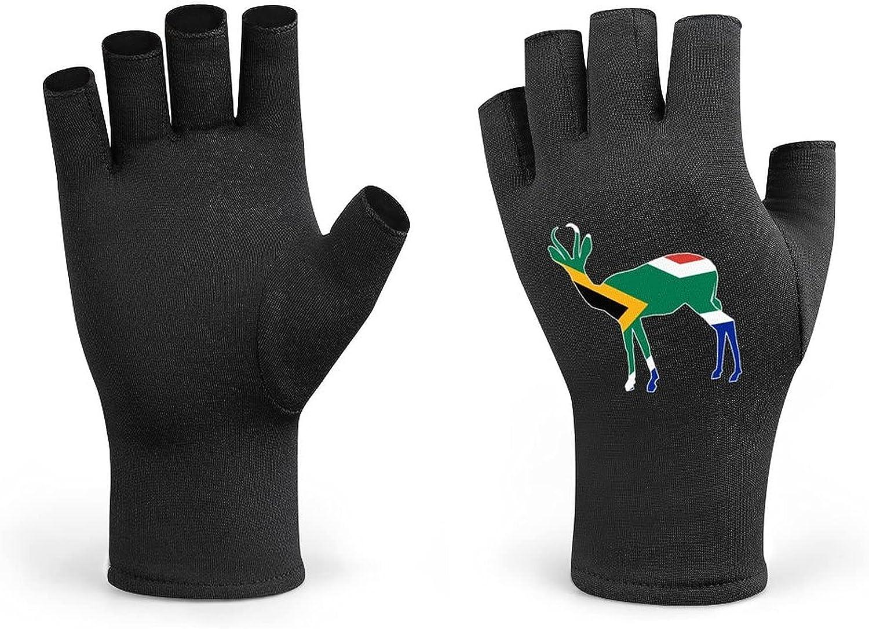 South Africa Flag Springbok Men Cycling Gloves Half Finger Women Winter Knitted Fingerless Lightweight Workout Short Black Gloves for Bike Mountain Shooting Hunting