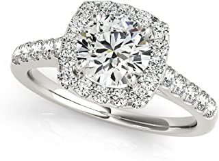 1 Carat Halo Round Diamond Hand-Crafted Engagement Ring In 14k Rose, White And Yellow Gold
