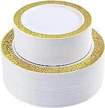 IOOOOO 120 Pieces Gold Plastic Plates, Lace Design Disposable Plates, Plastic Wedding Plates Includes: 60 Dinner Plates 10.25 Inch and 60 Dessert Plates 7.5 Inch