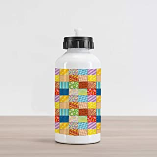 Lunarable Colorful Aluminum Water Bottle, Quilt Style Floral Plaid and Geometric Design Old Fashioned Patchwork Pattern, Insulated Spill-Proof Travel Sports Bottle, 28 oz, Multicolor