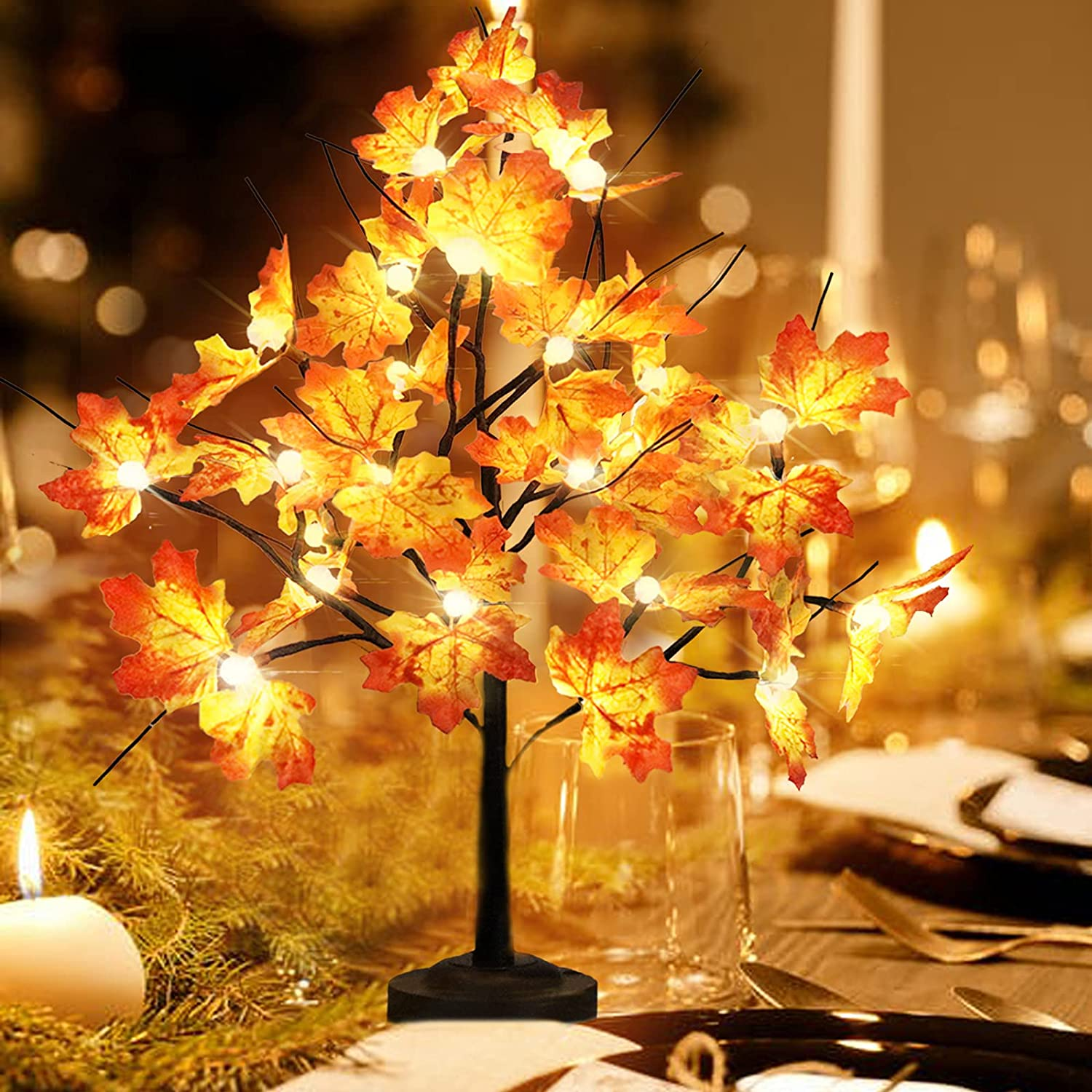 Maple Tree Light for Fall Thanksgiving Decor,24 LED Lighted Maple Tree with Leaves,2Ft Maple Light up Tree 8 Lighting Mode USB & Battery Operated Home Decoration Holiday Halloween Party Gift Ideas