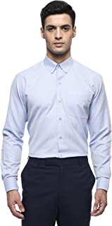 MODA HOMBRE Menswear Blue Self Textured Button Down Collar Regular Fit Shirt with Angled Cuff