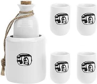 MyGift 6-Piece Japanese Style Ceramic Sake Set with Wine Character