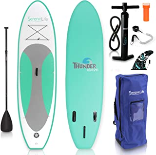 SereneLife Inflatable Stand Up Paddle Board (6 Inches Thick) with Premium SUP Accessories..
