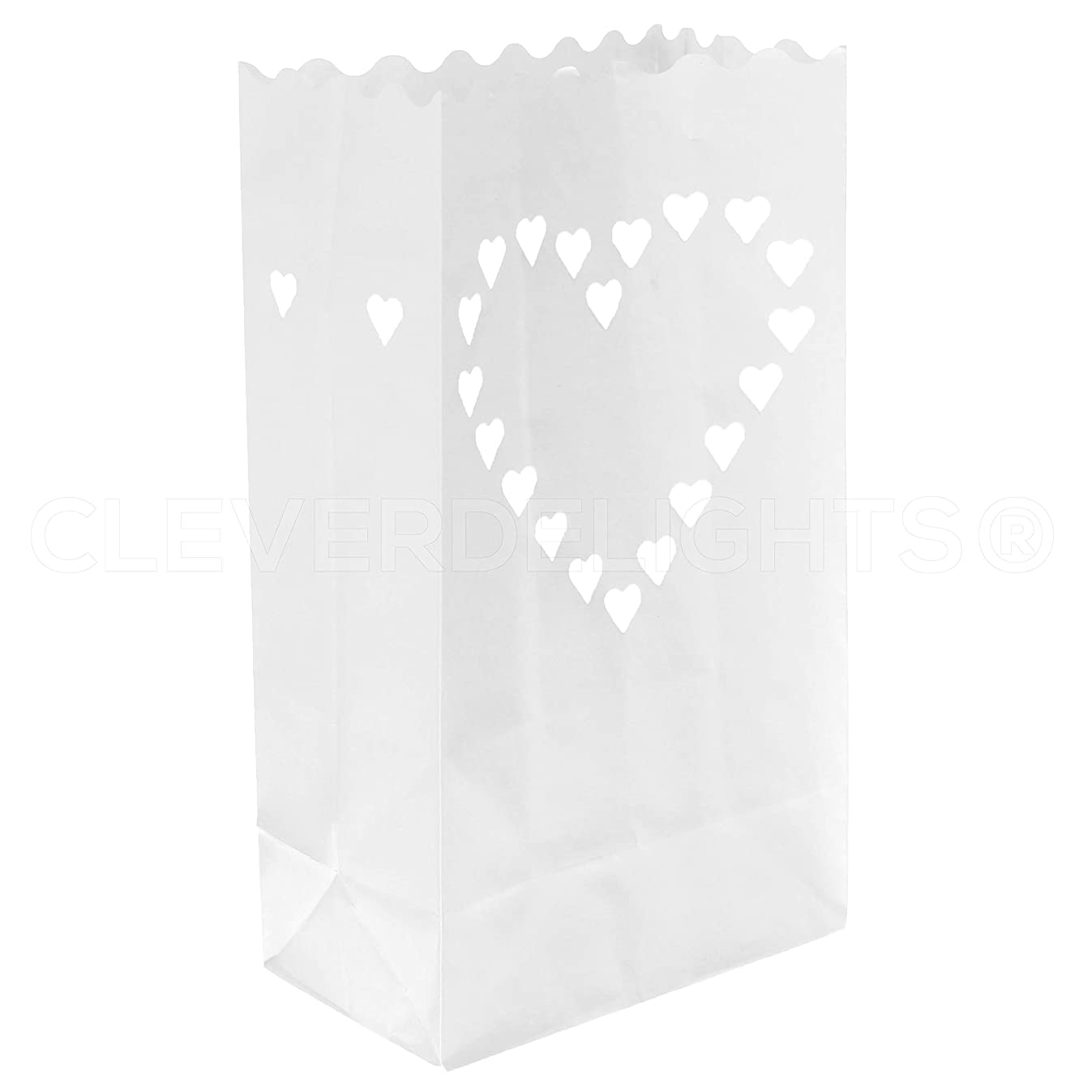 CleverDelights White Luminary Bags - 20 Count - Big Heart Design - Flame Resistant Paper - Wedding, Reception, Party and Event Decor - Luminaria Candle Bag