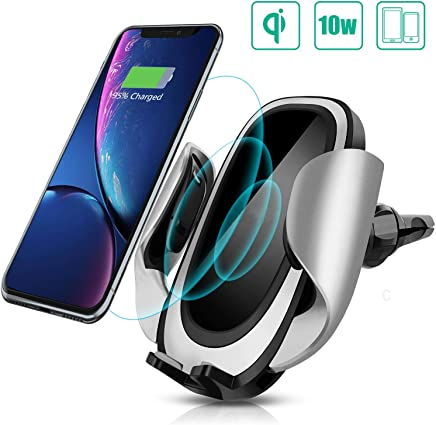CREUSA® Wireless Car Charger Mount, Automatic 10w Fast Charging Car Phone Holder with Adjustable Coil Compatible for Samsung Galaxy S9/S9+/S8/S8+/Note 8, iPhone Xs Max/Xs/XR/X/8/8 Plus and All QI-Enabled Devices