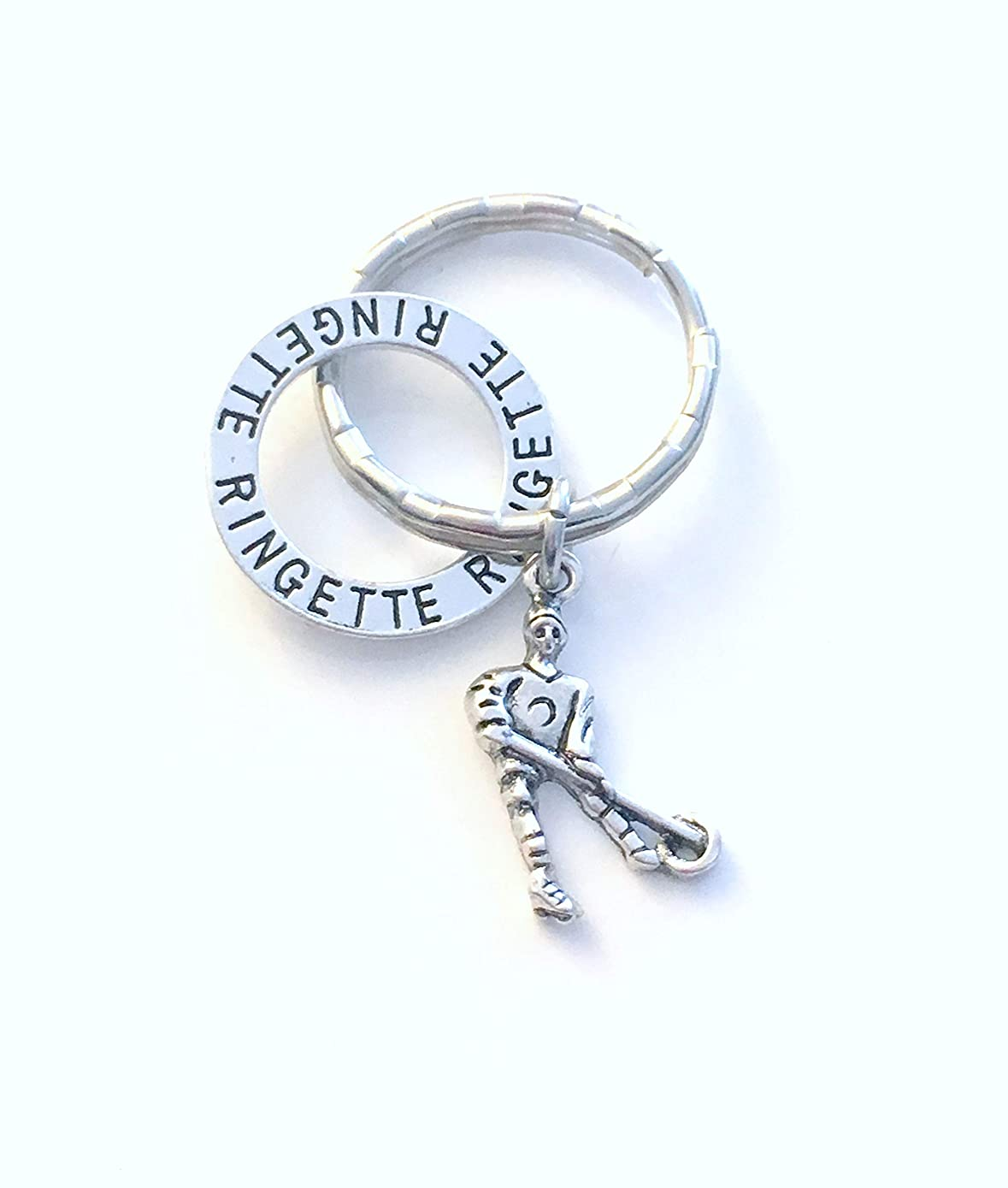 Gift for Ringette Player Key Chain, or Mom Keychain, Mother's Day Keyring - Present for Teammate or Sports team - Daughter, Women, Girl