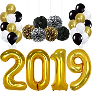 2020 Balloons, Gold for New-Year, Large | Black Gold and White Balloon Kit | New Years Eve Party Supplies 2020 | Graduations Party Supplies 2020 | New Years Party Decorations, Graduation Decorations