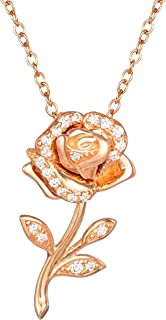 Disney Beauty and the Beast Pink Gold Over Sterling Silver Enchanted Rose Cubic Zirconia Necklace 18""