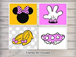 Minnie Mouse Unframed Wall Art Prints - Set of 4 - Chic Home Decor for Nursery, Girls or Kids Room - Perfect Affordable Gift for Disney or Mickey Mouse Fans - Ready to Frame (8x10) Photos