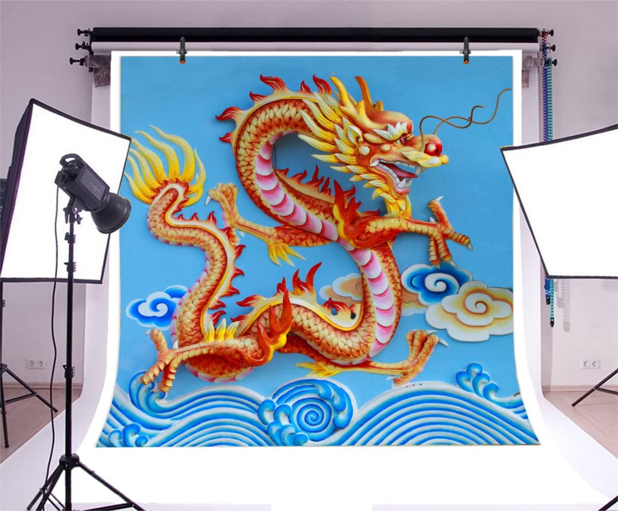 5x5FT Vinyl Backdrop Photographer,Dragon,Japanese Dragons Mythical Background for Baby Birthday Party Wedding Studio Props Photography