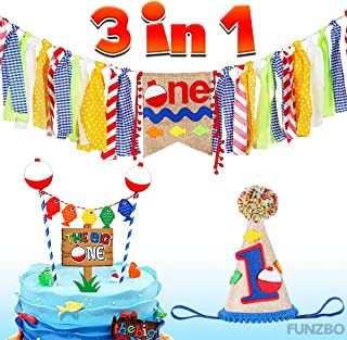 FunzBo Ofishally One Birthday Party Decorations Supplies - Fishing Themed Party Supplies - First Birthday Party Decorations - Complete Birthday Banner, Hat and 1 set Cake Topper