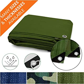 Heavy Duty Tarps | Waterproof Ground Tent Trailer Cover | Multilayered Tarpaulin in Many Sizes and Thicknesses | 10 Mil - Green - 8' x 10'