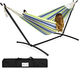 Best Choice Products Portable Indoor Outdoor 2-Person Cotton Double Hammock Set w/ Steel Stand and Storage Case, Blue Green Stripes