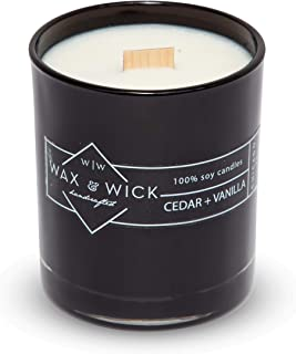 Scented Soy Candle: 100% Pure Soy Wax with Wood Double Wick | Burns Cleanly up to 60 Hrs | Cedar + Vanilla Scent with Notes of Cedarwood and Vanilla. | 12 oz. Black Jar by Wax and Wick