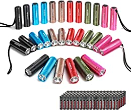 EverBrite 30-pack Mini Flashlight Set, Aluminum LED Handheld Torches with Lanyard, Assorted Colors, 90 Batteries Included for EDC, Party Favors, Night Reading, Camping, Power Outage, Emergency