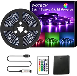 WOTECH RGB LED Strip Lights Battery Powered, 6.6FT/2M Waterproof LED Light Strip SMD5050 60 LEDs Rope Lights, USB TV Backlight Kit with 24 Keys RF Remote for DIY Party Indoor Outdoor…